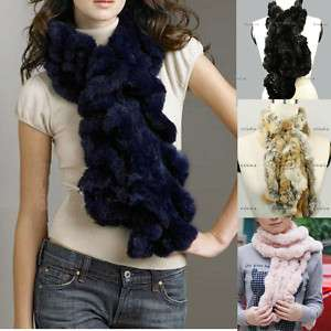 fashion~ 100% Real farms Rex Rabbit Fur Scarf Shaw Wrap cape