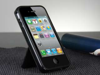 TPU Hard Case Cover W/Chrome Stand F iPhone 4 4G 4S + Free Film
