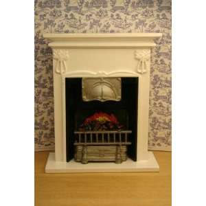 Dollhouse Miniature White Wood Fireplace with Embers Toys & Games