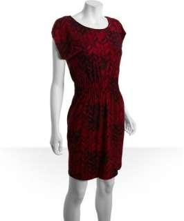 Calvin Klein claret stretch knit jersey printed cap sleeve dress