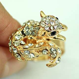Squirrel Wedding Gold Plating Diamante CZ Zircon Adjust Ring Jewelry