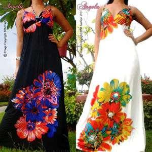 Floral Evening Summer Long Maxi Dress Size Sz M   XXL 6   20 US