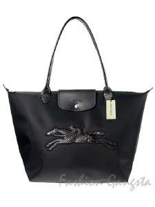 Authentic Longchamp Victoire Le Pliage Black Tote Bag Made in France