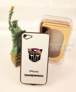 Autobots Luxury Metal Plating Hard Case Cover iphone 4 4s white