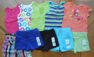 NEW 18 month Girl Cool Summer clothes Lot 5 Outfit Tops Short Twin
