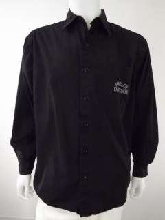 Mens long sleeve shirt 100% cotton black Harley Davidson L button up