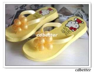 Hello Kitty Cute Yellow Grape Decor Flip Flops Sandals Shoes Size 2.5