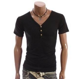 High Quality Cotton Mens V neck T shirt Tee Shirt   Black Clothing