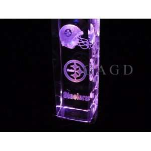 NFL PITTSBURGH STEELERS 6 INCH 3D LASER ETCHED CRYSTAL with LIGHT BASE