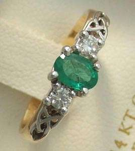 Celtic Knot Emerald & Diamond Engagement Ring Irish