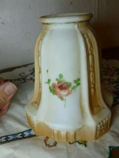Art Deco Milk Glass Hand Painted Roses 2 1/4 Lamp Shades