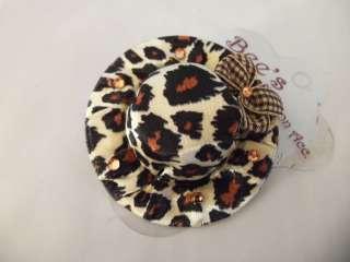 leopard CHEETAH animal GIRLS hair bow BROOCH pin HAT rhinestone SILK