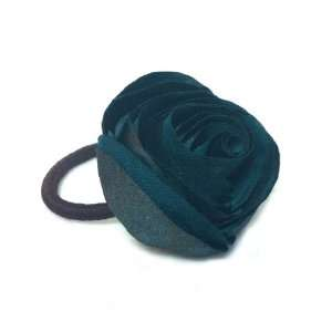 Beautiful Dark Green Rose Flower Hair Holder Ponytail