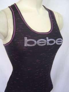 New BEBE Logo Black Pink Racer Back Tank XS S M L