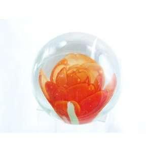 Murano Design Glass Orange Rose art Art Paperweight PW 019