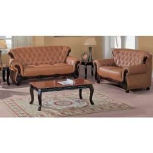 Traditional Classic Button Tufted Showood Accented Brown Leather Sofa