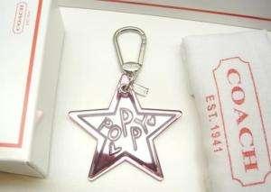 New COACH Poppy Star Keychain Key Ring Fob Charm
