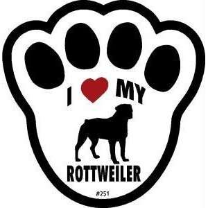 I Love My Rottweiler Dog Pawprint Window Decal w/Suction