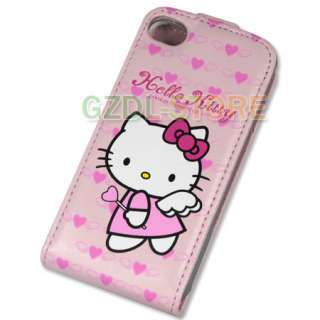 Hello Kitty Flip Leather Case Cover For iPhone 4 4G C3
