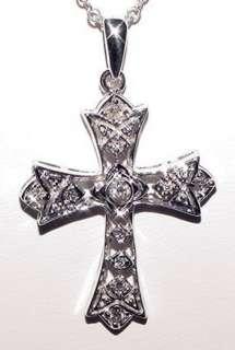 14KW Gold Big CROSS Diamond Filigree Adorable 4Gr