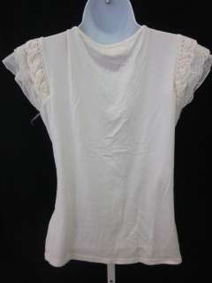 CASTING Ivory Embroidered Cap Sleeve Blouse Shirt Sz 2