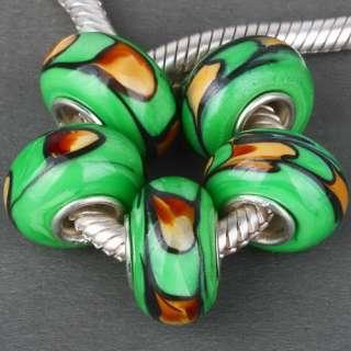 Fresh Green Gold Design Handmade Glass Bead Colorful Design Fit