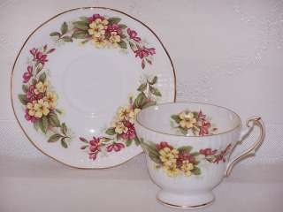 Queens Rosina Cup Saucer Fine Bone China Pink Yellow Wild Flowers