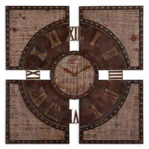 Distressed Wood Wall Clock 30 in.