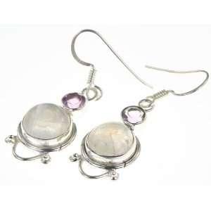 Silver RAINBOW MOONSTONE, AMETHYST Earrings, 1.5, 5.88g Jewelry