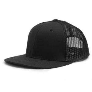 BLACK 6 PANEL MESH TRUCKER BASEBALL CAP HAT CAPS HATS