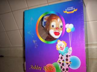 ASHLEY BELLE PORCELAIN CLOWN DOLL ON SWING MINT IN BOX