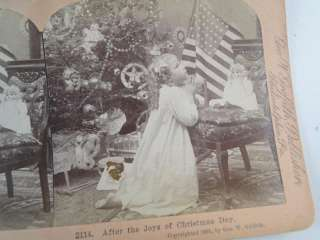 Antique Griffith Stereoview Card Set Santa Claus Christmas Tree