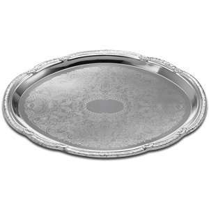 Oval Embossed Chrome Plated Metal Catering Tray