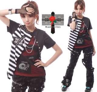 Harajuku Visual Kei Stripe LAYER Fishnet Rock Emo Top