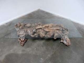 BURLED ROOT DRIFTWOOD COFFEE TABLE folk art modern industrial