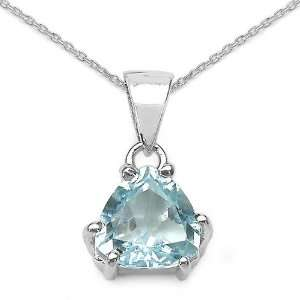 Sterling Silver Trillion cut Blue Topaz Necklace Jewelry