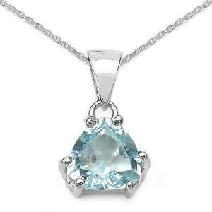 Sterling Silver Trillion cut Blue Topaz Necklace Jewelry