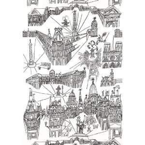 of Paris Black / White by F Schumacher Wallpaper