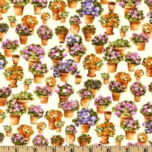 Garden Flower Pots Lilac Fabric By The Yard Arts, Crafts & Sewing