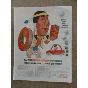 oil filters. Vintage 60s full page print ad. (Indian/smoke signals