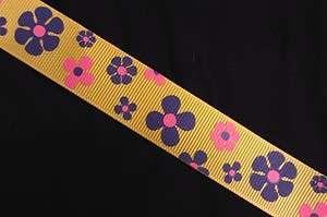 RETRO Gold Yellow Purple Pink flower LSU Lakers GROSGRAIN RIBBON