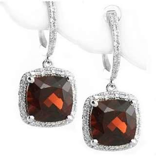 80ct VVS RED GARNET & DIAMONDS DANGLE EARRINGS 14K WHITE GOLD