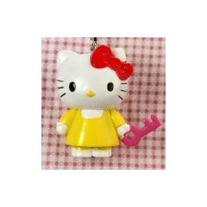 hello kitty cat red bow pendant charm (Yellow dress red