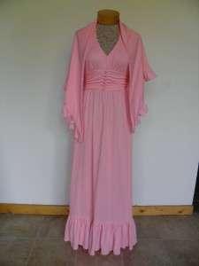 Vtg MIKEY Jrs PINK~ HALTER FORMAL PROM Long Gown &Shrug