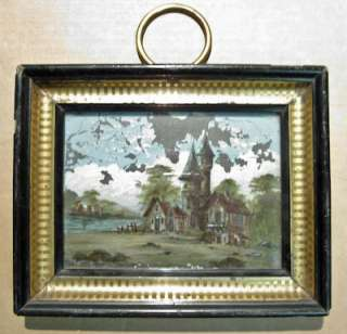 Antique Reverse Painting on Glass Oil & MOP Continental Landscape 19th