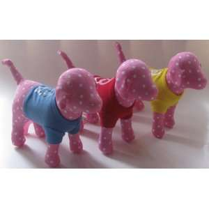 Victorias Secret Pink Solid Plush Dogs Set of 3 White Dots with Peace