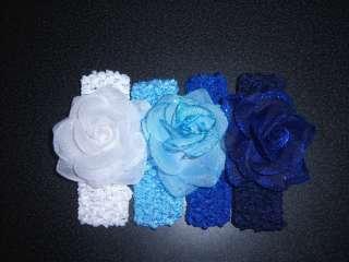 baby OR girls WHOLESALE LOT glitter rose HAIR BOW HEADBANDS blue navy