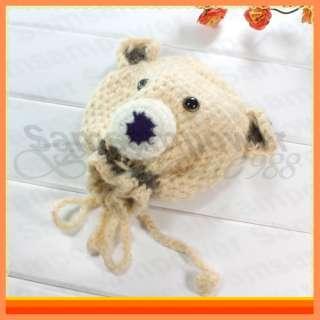 Crochet Knit Beanie Handmade Cute Bear Baby Toddler Hat Cap Keep Warm