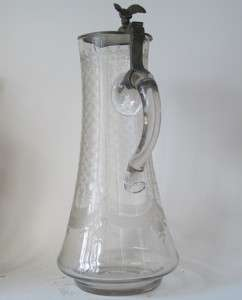 Antique Large Glass Beer Stein/Pitcher Wheel Engraved circa 1870