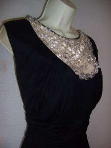 Woman Black Jersey Beaded Ruched Jeweled Cocktail Dress 22W 22